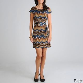 Sharagano Womens Zig Zag Jersey Dress with Self Belt