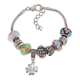 La Preciosa Silvertone Multi Colored Flower Bead and Clover Charm