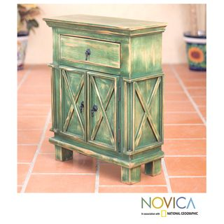 Handcrafted Pinewood Antique Green Crisscross Nightstand (Mexico