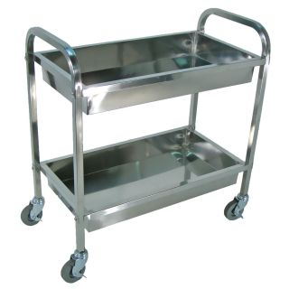 Luxor Silver Three shelf Rolling Stainless Steel Kitchen Cart