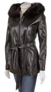 Marvin Richards Black Hooded Leather Jacket with Fox Fur Trim