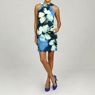 Jessica Howard Petite Pleated Neck Dress FINAL SALE