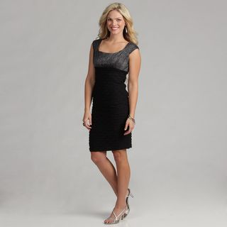 London Times Black/ Silver Jersey Cocktail Dress