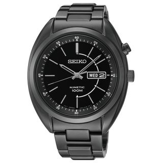 SEIKO Mens Kinetic Black Dial Stainless Black Ion Watch
