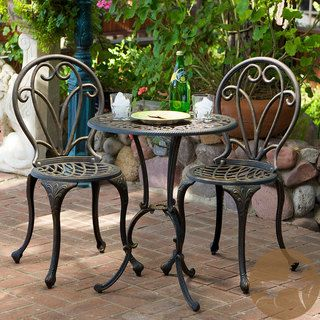 Christopher Knight Home Thomas Cast Aluminum Dark Gold 3 piece Bistro