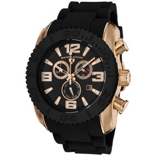 Swiss Legend Mens Commander Black Silicone Chronograph Watch