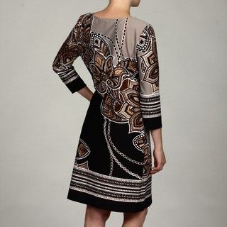 Glamour Womens Black/ Brown Abstract Dress