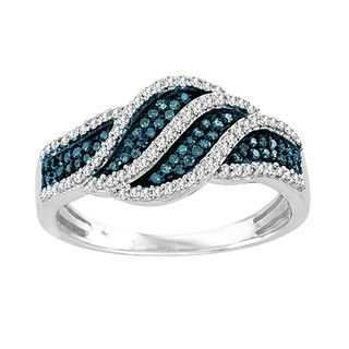 Sterling Silver 2/5ct TDW Blue and White Diamond Cocktail Ring