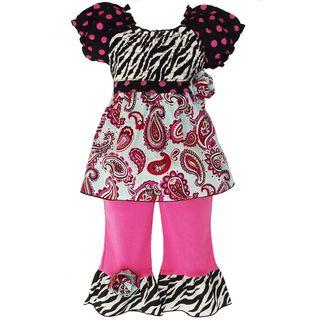 AnnLoren Girls 2 piece Smocked Paisley/ Polka dot/ Zebra Outfit
