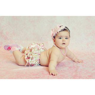 Baby Bling Shoes Bloomer and Feather Rhinestone Headband Set