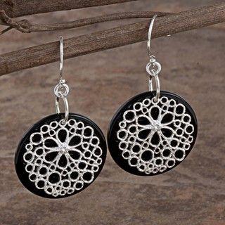 Sterling Silver Full Moon Onyx Earrings (Israel)