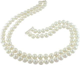 Miadora Sterling Silver 2 strand 9 10mm FW Pearl Necklace (17 22