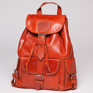Burnt Orange Leather Backpack (Morocco)