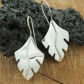 Sterling Silver Flying Feather Dangle Earrings (Mexico)