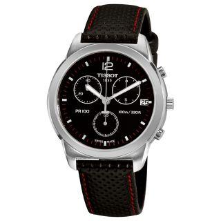 Tissot Mens PR 100 Black Chronograph Dial Black Strap Watch
