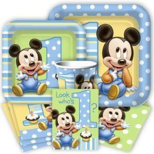 Baby Mickey Mouse 1st Birthday Party Pack Supplies for 16