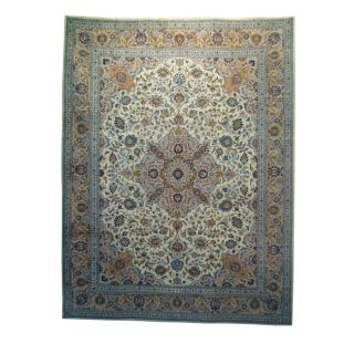 Persian Hand knotted Mashad Ivory Wool Rug (101 x 131)