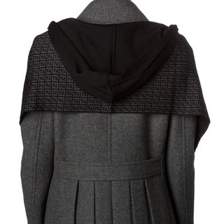 Fendi Black/ Grey Zucchino Wool Hooded Scarf