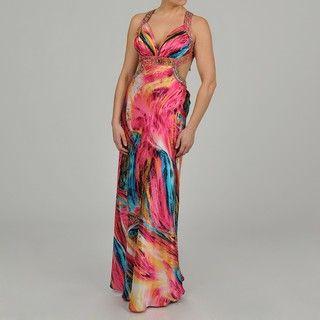 Ignite Womens Brushstroke print Beaded Long Fishtail Gown