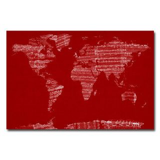 Michael Tompsett Sheet Music World Map Canvas Art