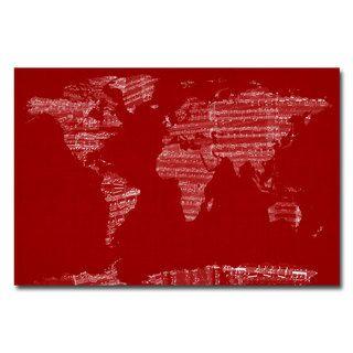 Michael Tompsett Sheet Music World Map Canvas Art