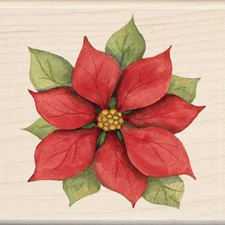 Inkadinkado Christmas Mounted Rubber Stamp  Poinsettia 3X3