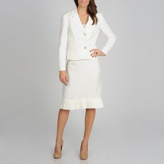 Atelier Womens Ivory Pleated Hem Skirt Suit
