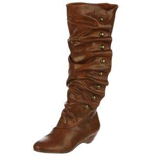 Madden Girl Womens Zaney Cognac Tall Studded Boots