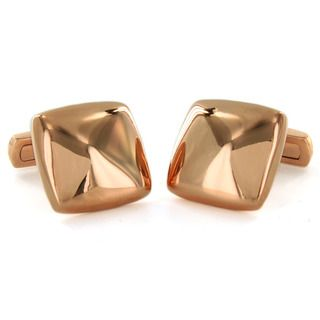 West Coast Jewelry Stainless Steel Square Rose Gold Plated Cuff Links