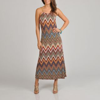 Lennie for Nina Leonard Womens Geometric Print Maxi Dress