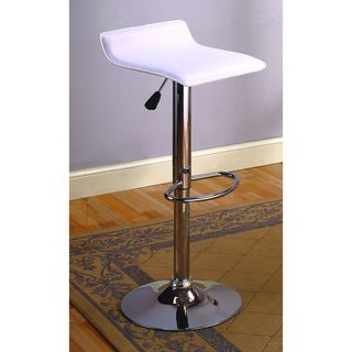 White Vinyl Chrome Finish Bar Stools (Set of 2)
