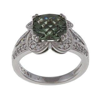 Tacori IV Sterling Silver Green Cubic Zirconia Ring