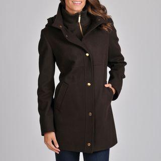 Nautica Womens Chocolate Wool Coat
