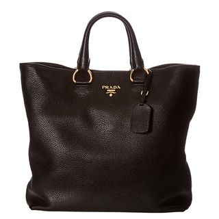 Prada Daino Black Pebbled Leather Tote Bag