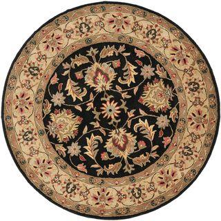 Handmade Heritage Kerman Black/ Gold Wool Rug (6 Round)
