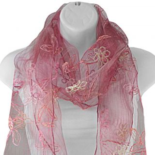 Hand spun Silk Embroidered Small Daisy Coral Scarf (India)