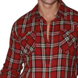191 Unlimited Mens Red Plaid Flannel Shirt