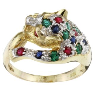 14k Yellow Gold Multi gemstone Panther Ring (Size 6.5)