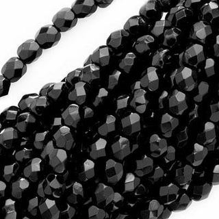 Fire Polished 4 mm Round Black Beads (Case of 100)