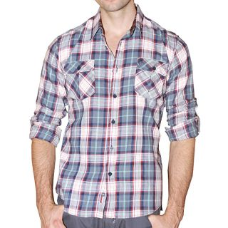 191 Unlimited Mens Blue Plaid Flannel Shirt