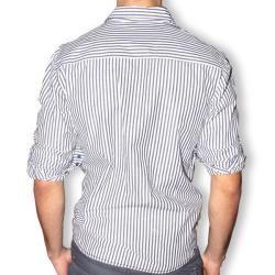 191 Unlimited Mens Blue Stripe Contrast Cuff Slim Fit Shirt