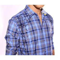 191 Unlimited Mens Blue Embroidered Plaid Shirt