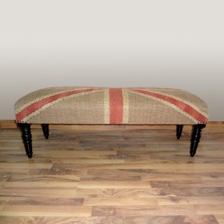 Hand upholstered Union Jack Flag Wood Bench