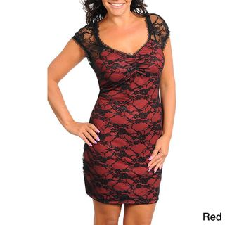 Stanzino Womens Plus Lace Cocktail Dress