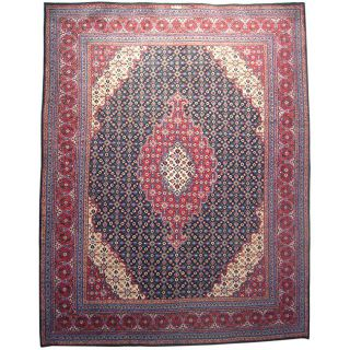 Persian Hand knotted Khorasan Moud Navy Wool Rug (101 x 1210