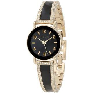 Anne Klein Womens Black Leather Quartz Watch