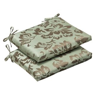 Pillow Perfect Outdoor Brown/ Green Floral Seat Cushions with