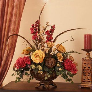 Rose, Hydrangea and Feathers Silk Floral Arrangement Home