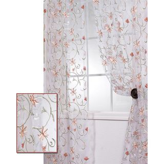 White Embroidered Organza 96 inch Sheer Curtain Panel