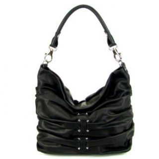 LUCA VALENTINI Italian Designer Black Leather Shoulder Bag